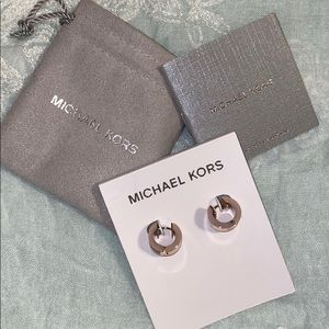 Michael Kors Jeweled Blush Rose Gold-Tone Hug Hoop